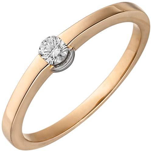 JOBO Damen-Ring aus 585 Rosegold mit Diamant 0,15 ct. Größe 58