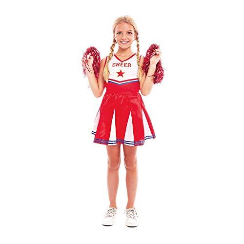 Disfraz Animadora Cheerleader Niña Carnaval【Tallas Infantiles de 3 a 12 años】[Talla 10-12 años] Disfraz Niña Carnaval Profesiones Deportes Teatro Actuaciones Desfiles