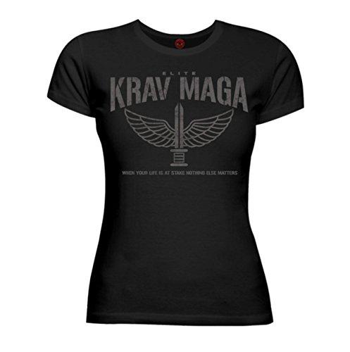 Dirty Ray Kampfsport Krav MAGA Elite Damen Kurzarm T-Shirt DT36D (S, Schwarz)