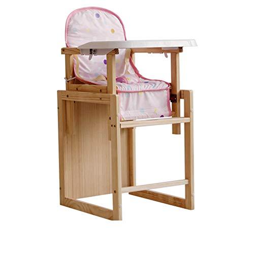 Chaise De Bébé Chaise Haute Bébé Bureau Multifonction pour Enfants en Bois Massif ZHANGQIANG (Couleur : Couleur du Bois, Taille : Second Gear)