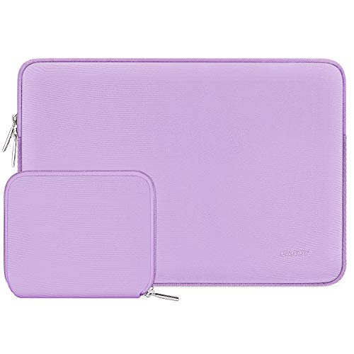 MOSISO Funda Protectora Compatible con 13-13.3 Pulgadas MacBook Air/MacBook Pro/Ordenador Portátil, Bolsa Blanda de Neopreno con Pequeño Caso,Violeta Claro