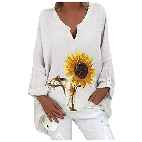 Hemd Bluse Top Frauen Plus Size Lässig Langarm Sonnenblumen Print Loose V-Ausschnitt (XL,1Weiß)