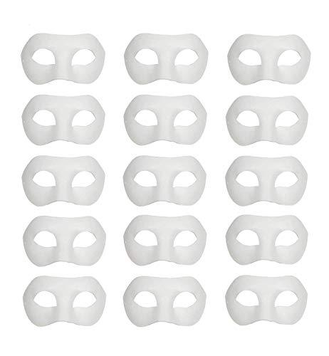 15 PCS White Masks, DIY Unpainted Masquerade Masks