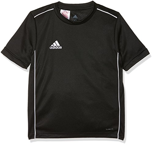 adidas Core18 Jsy Y T-shirt., Unisex bambini, Black/White., 7-8Y