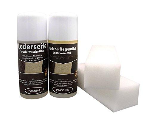 Pacona Lederpflegeset/Lederreinigungsset für Leder aller Art - 4 teilig (Lederseife, Leder-Pflegemilch, Schwämme)