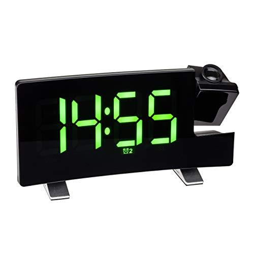 TFA Dostmann Projektionswecker, 60.5015.04, mit FM Radio, 2 Alarmzeiten, schwarz mit grünen Leuchtziffern, Kunststoff, (L) 180 x (B) 48 x (H) 100 mm