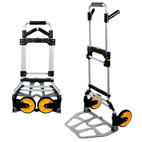 MIZE Aluminiumlegierung Klapp Trolley Klappbar Leichtgängige Räder mit Soft-Laufflächen und bis 200 kg,Silber Transportkarre für Angeln