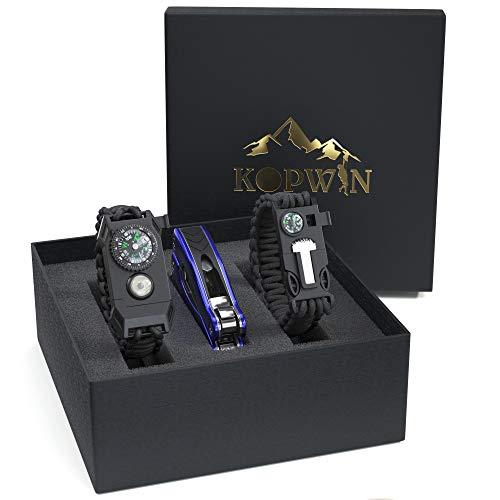 Kopwin Paracord Survival Bracelet Set - Bonus Keychain Multitool Included. Paracord Bracelet with Compass, Magnesium Flint Fire Starter, Emergency Whistle, and Led Light. Set of 2. Black