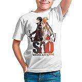 Camiseta Serie Manga y Anime Niño - Unisex Sword Art Online, Sao (Blanco, 5 años)