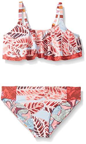 Maaji Mädchen Flounce Ruffle Top Bikini Swimsuit Set Zweiteiliger Badeanzug, Dies ist Samba Red Feather, 38 DE