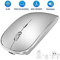 SEZAC Ratón Inalámbrico Recargable, 2.4G Ratón óptico Silencioso Click Mini con 3 Niveles de dpi para Computadora, Computadora Portátil, PC, Air, iMac, MacBook Pro (Plata)