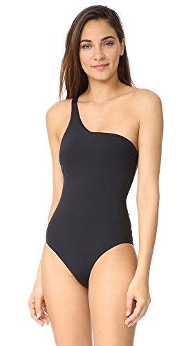 Red Carter Women's Standard Lace Back One Shoulder Maillot Bathing Swim Suit, Black, S
