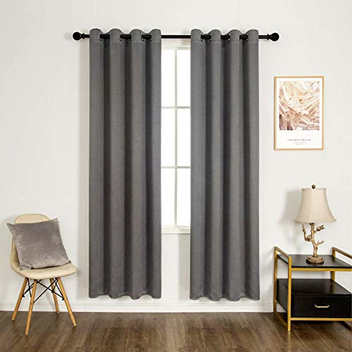 UVNESS Room Darkening Blackout Heavy Weight Curtains for Bedroom/Living Room – Flax Grommet Drapes, Thermal Insulated, 52 x 84 Inch, Grey, 2 Panels