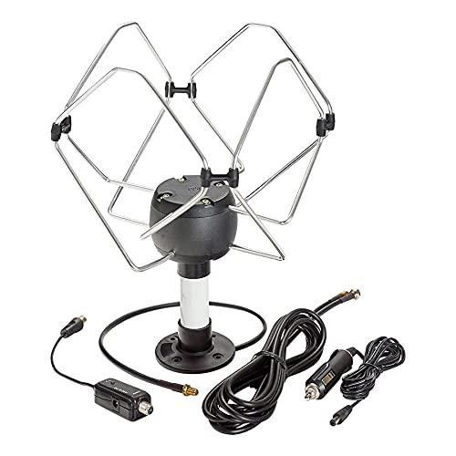 KUMA Matrix TV Antena Amplificador Kit - Exterior TDT HDTV Antenna Omnidireccional para Auto Caravana Autocaravana Camioneta Barco - 12v Portátil Digital HD BaseTornillo Potente Pulpo Television