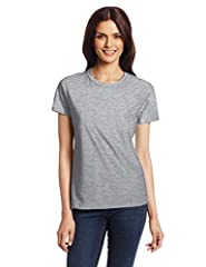 Short-sleeve classic tee featuring ribbed crew neckline Pre-shrunk for fit 4.5-ounce ring-spun cotton