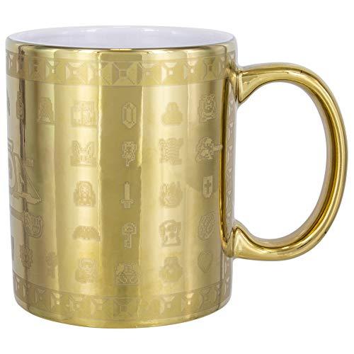 Paladone The Legend of Zelda Tasse Glossary Mug Gold goldfarben, Bedruckt, aus Keramik, in Geschenkkarton.