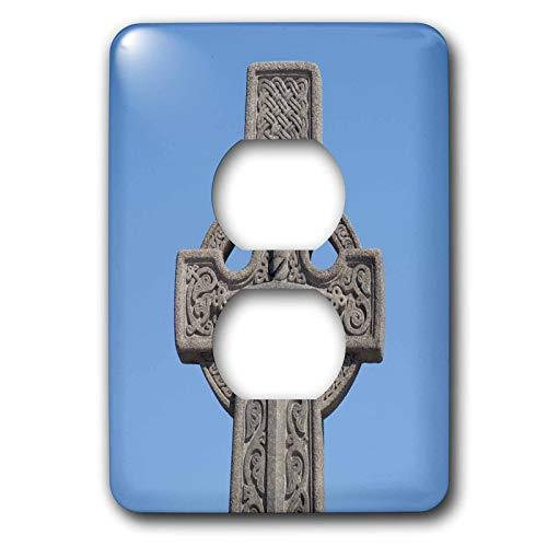 Einzelne Duplex-Wandplatte, Steckdosen-Wandplatte, Schottland, Edinburgh, Steinkeltisches Kreuz, Eu36 Cmi0157, Cindy Miller Hopkins 2 Steckdosenabdeckungen