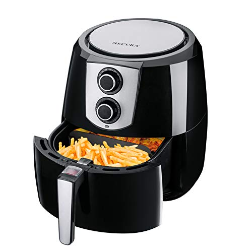 Secura Air Fryer XL 5.5 Quart 1800-Watt Electric Hot Air Fryers Extra Large Oven Nonstick Cooker for Healthy Oil-free Low Fat Cooking with Automatic Timer and Temperature Control, Bonus Food Divider
