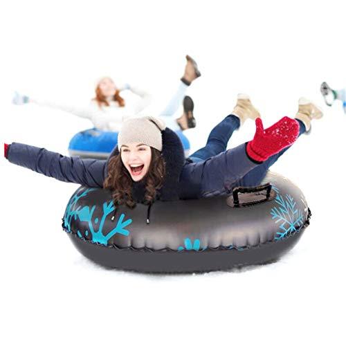 Snow Tube - Trineos inflables de 47 Pulgadas para niños y Adultos, trineos de Nieve Resistentes Tubo de Nieve para trineos de Nieve de Invierno con Dos Asas Antideslizantes (Black)