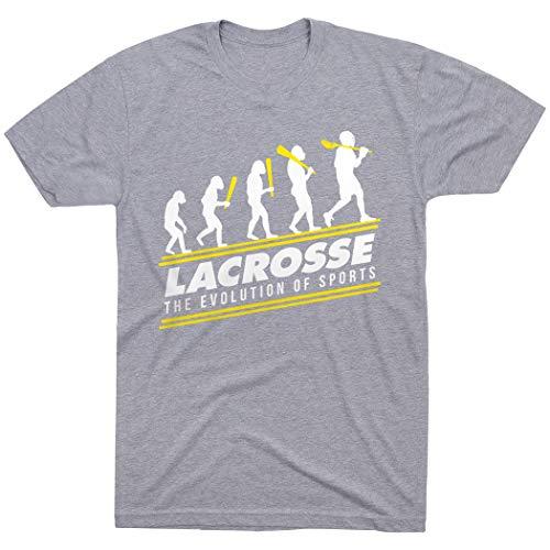 Lacrosse Evolution T-Shirt | Lax Tees by ChalkTalk Sports | Sport Gray | Adult Medium