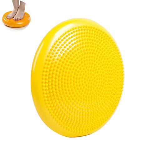 N/D Durable aufblasbaren Yoga-Massage-Kugel-Pad, Universal Sport Gym Fitness Yoga Wobble Stabilität Gleichgewicht Disc Kissen, Füße Rehabilitation Thick-Yoga-Kugel,Gelb