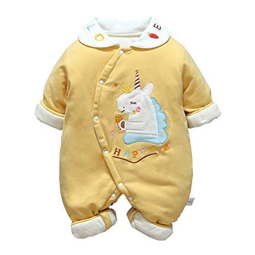Mameluco del bebé, mono mejor regalo de solapa fina de algodón Baby Onesies gruesas de algodón recién nacidos ropa y del invierno del otoño del bebé de una sola pieza de ropa para ninos,Amarillo,73CM