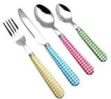 EXZACT Cutlery Set 24pcs Stainless Steel with Gingham Check Coloured Handles - 6 x Forks, 6 x Dinner Knives, 6 x Table Spoons, 6 x Tea Spoons (Mixed Color x 24 pcs)