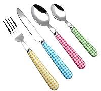 exzact posate in acciaio inox 24 pezzi - motivo a quadretti/maniglie colorate - 6 x forchette, 6 x coltelli, 6 x cucchiai cena, 6 x cucchiaini (24 x colori assortiti)