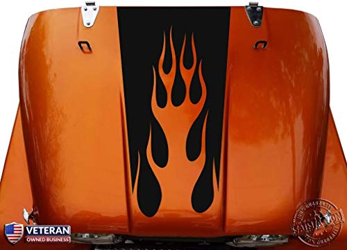 Tower Decals Hood Blackout Flames Vinyl Graphic Decal Fits Jeep CJ Matte Black 0214