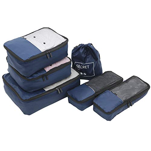 TPRC 6 Piece Packing Cubes, Shoe, Laundry Bags Travel Organizer Set, Navy Blue