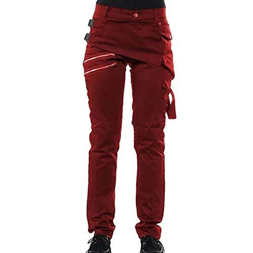 BANGBIU - Pantalones góticos para Mujer, Color sólido, con Cierre, Estilo rockero, Estilo Vintage, Pantalones Punk, Leggings, Pantalones Informales Rojo Tamaño: 2 x L.