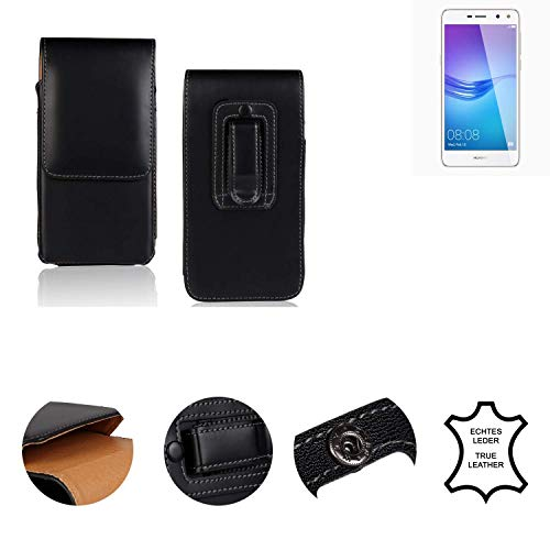 K-S-Trade® Holster Gürtel Tasche Für Huawei Y6 (2017) Dual SIM Handy Hülle Leder Schwarz, 1x