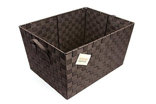 Ehc Woven Deep Storage Hamper Basket with Carry Handles, Dark Brown