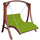 ASS Design Hollywoodliege Hollywoodschaukel Aruba-OD aus Holz Lärche ohne Dach von Farbe:Grün