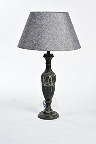 Lámpara de mesa Shabby Chic Provenzal con pantalla de tela rígida y base de madera de 53 cm de alto
