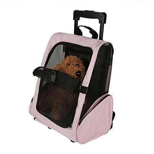 Boern Katzentragetasche Rucksäcke Hundetasche Hunderucksack/Hunde Trolley - Transporttasche für Hund/Katze - mit 4 Rollen,Pink...