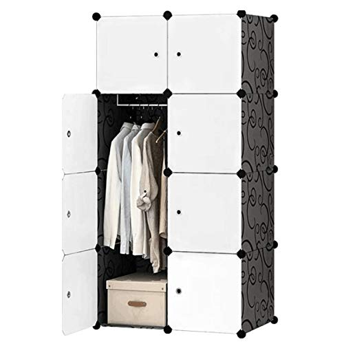 BRIAN & DANY 8 Cube Portable Wardrobe Closet, Modular Storage Organizer with Doors & 1 Hanger, Deeper Cubes for Larger Space