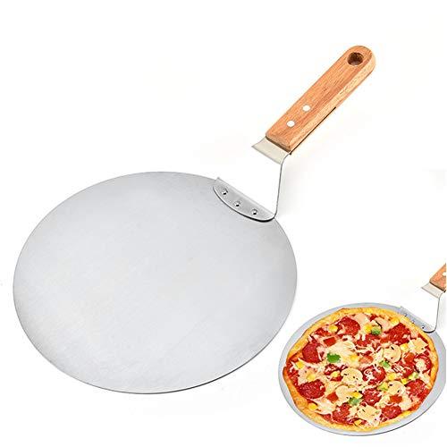 Fablcrew Pelle à Pizza Ronde en Acier Inoxydable avec Poignée en Bois Anti-dérapant pour Les Pizza ou Gâteau et Tartes 10 Pouces