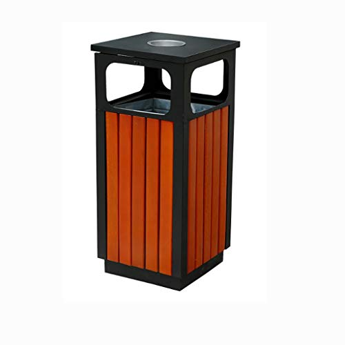 Cubos de Basura para Exterior Al Aire Libre con cenicero, Papel de Madera, Papelera, Papelera comunitaria de Basura de Park Street Basura y Reciclaje Cubos de Basura para Exterior