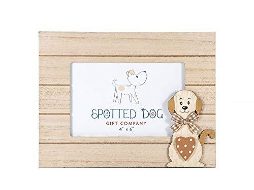 SPOTTED DOG GIFT COMPANY Marco de Fotos Horizontal 10 x 15 cm portafotos Decorado con Lindo Perro Color Madera Natural de pie o para Colgar en Pared, Regalo para Amante de los Perros