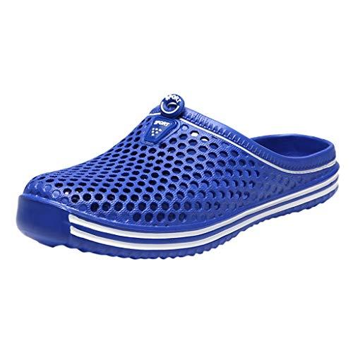 Yowablo Schuhe Frauen Männer Paare Unisex Aushöhlen rutschfeste Hausschuhe Strand Im Freien (43 EU,Blau)
