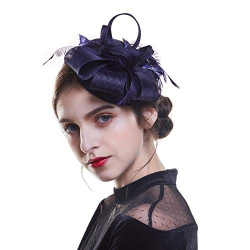 Navy Blue Fascinator Hatinator /& Bande Clip Mariages races Ascot Kentucky Derby