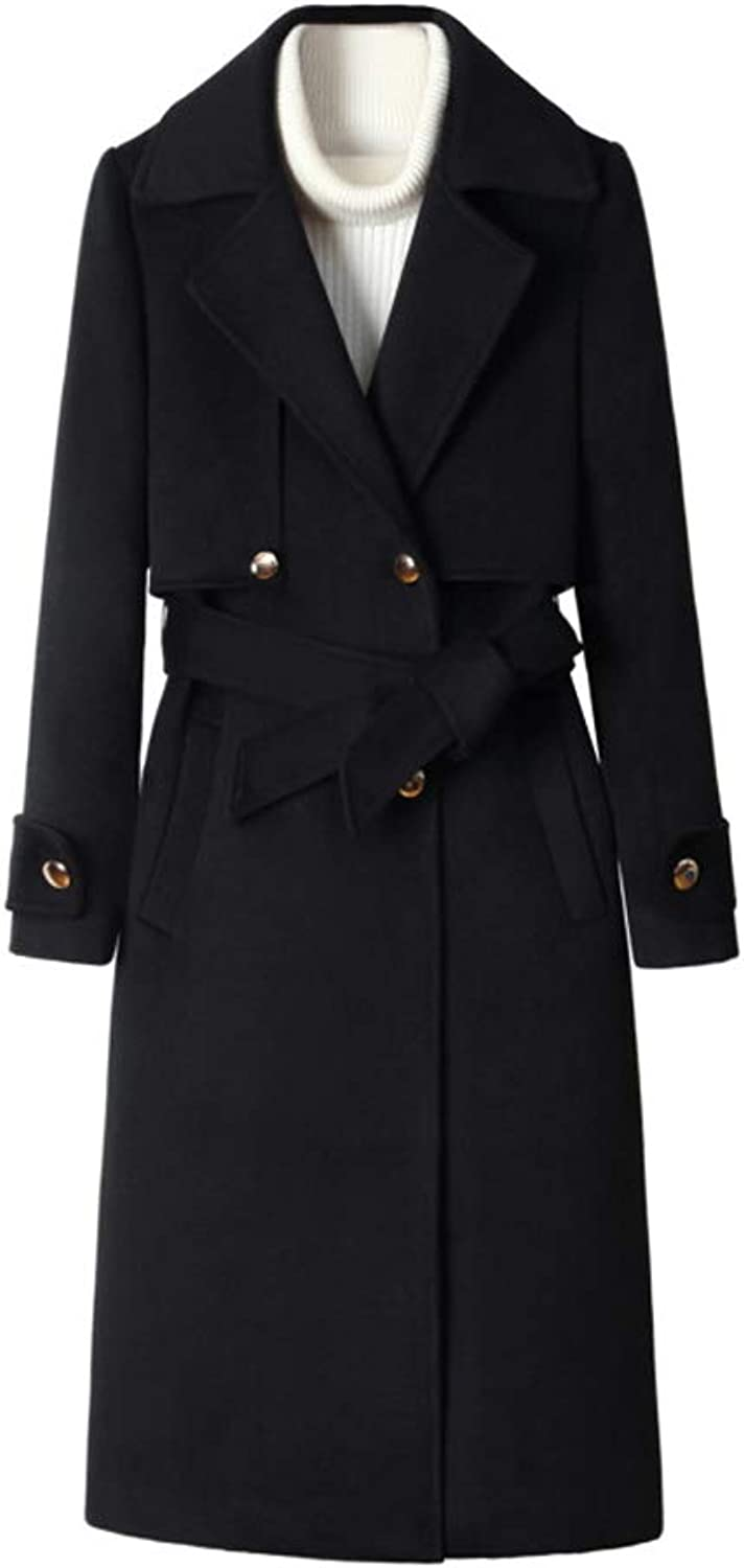 Black Women Woolen Coat Long, Classic MidLength OverTheKnee DoubleBreasted Trench Coat with Belt,BlackAXS