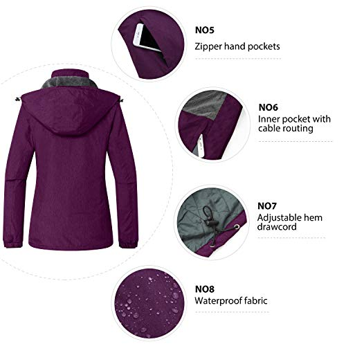 Wantdo Women's Waterproof Ski Fleece Coat Outdoor Skiing Hooded Jacket Purple, Small