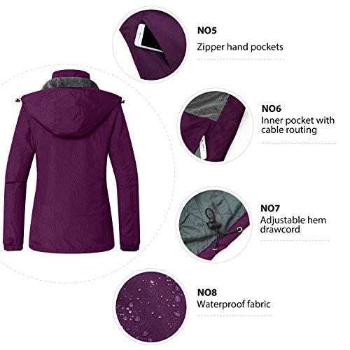 Wantdo Women's Waterproof Ski Fleece Coat Outdoor Skiing Hooded Jacket Purple, Small