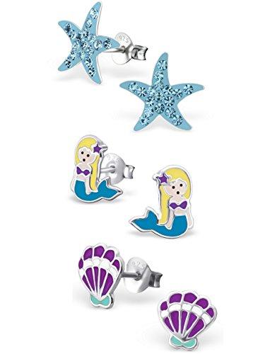 ICYROSE 925 Sterling Silver Set of 3 Pairs Blue Crystal Starfish, Mermaid, Purple Seashell Stud Earrings for Girls (Nickel Free) 20509