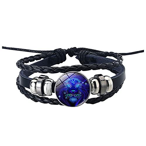 GANBADIE - Pulsera de piel para hombre y mujer, con cuerda de cuero, 12 constelación, pulsera de cuerda trenzada ajustable vintage d Talla única