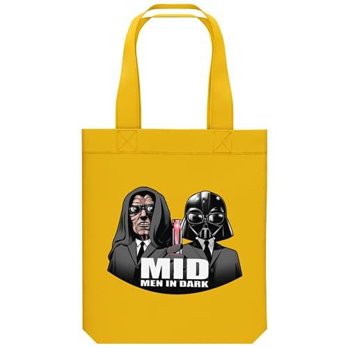 OKIWOKI Star Wars - Men In Black Lustiges Shipper aus Bio-Baumwolle - Darth Vader und Darth Sidious X Men In Black (Star Wars - Men In Black Parodie signiert Hochwertiges Tote Bag - Ref : 919)