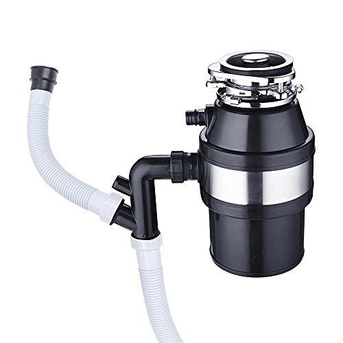 Portable 1 Liter 1/2 Horsepower 2600 RPM Compact Batch Feed Plug-in Garbage Disposal Kitchen Family Food Waste Disposer Power Electric 110 Volts