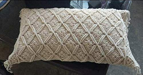 Crafting with Love - Funda de cojín hecha a mano, diseño de la casa de macramé, 30,48 x 45,72 cm, para sofá, sala de estar, coche, dormitorio, hogar, funda de almohada, color blanco